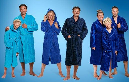 blauwe badjassen