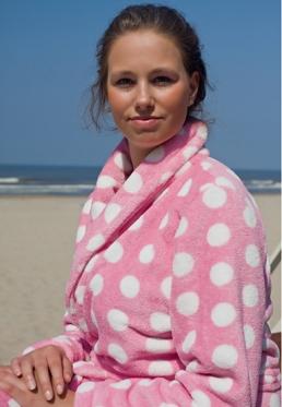 Pink dottie - Dames badjas - L/XL