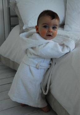Baby badjas met naam-limegroen-1-2 jaar