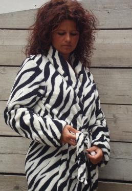 Zebra badjas / Dames badjas - S/M