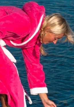 Pink met Capuchon - Dames badjas met capuchon - L/XL