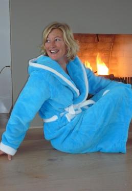 Aquablauwe badjas met capuchon - S/M