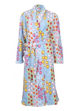 Badjas met bolletjes - blauwe badjas - L