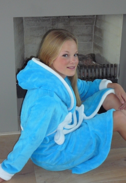 Badjas kids aqua - kinderbadjas met capuchon - L (9-10 jaar)