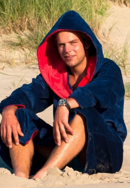 Marineblauwe badjas met capuchon - Xl-XXL