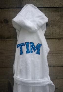 Jouw naam op een kinderbadjas - Jongens-kobalt blauw-0-12 mnd