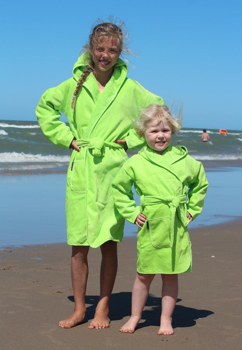 Kinderbadjas in diversen kleuren-limegroen-6-8 jaar