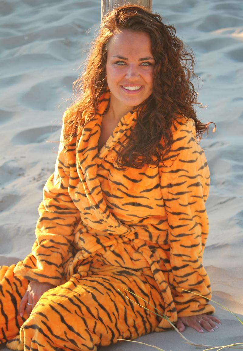 Dames badjas tijgertje - fleece badjas - L/XL