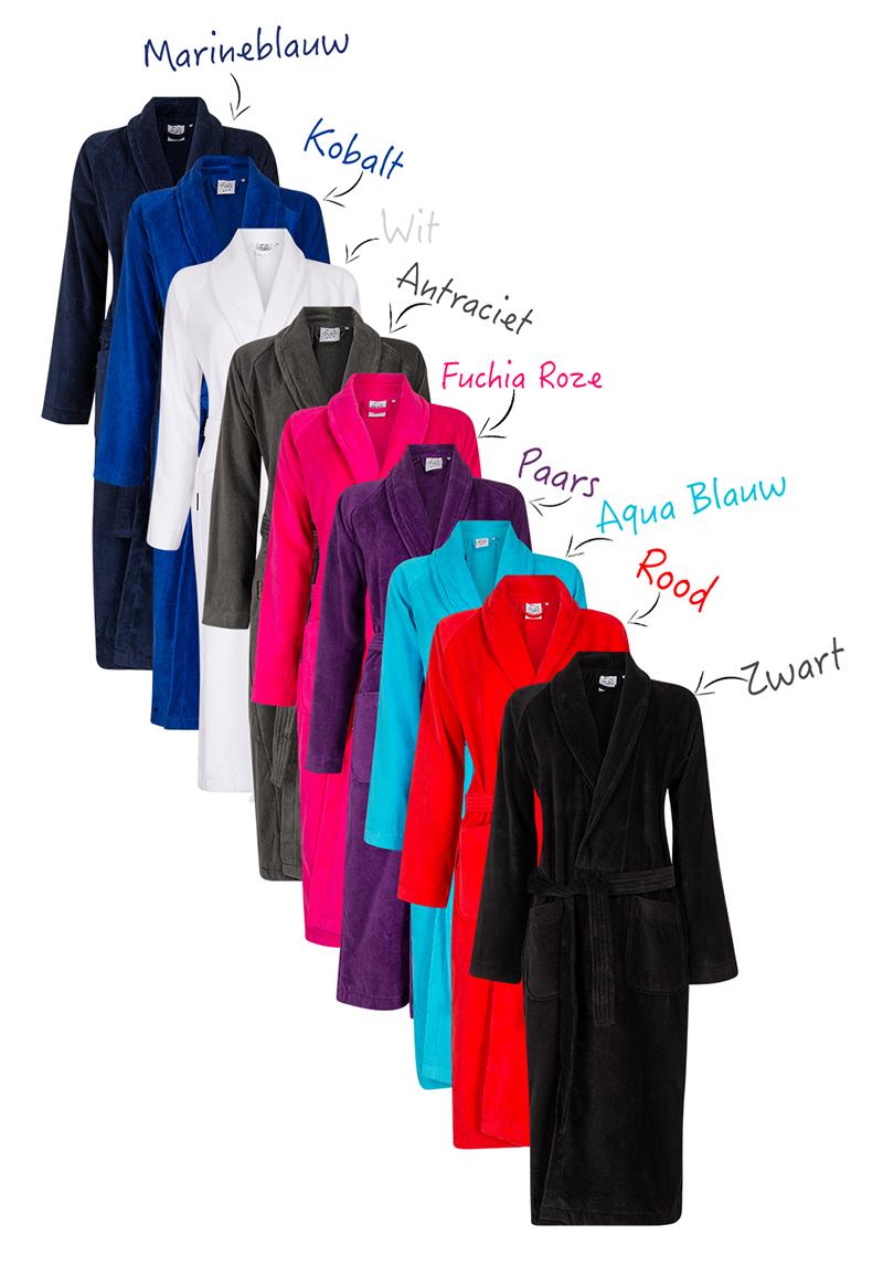 Badjas met naam / geborduurde badjas-kobaltblauw-s/m