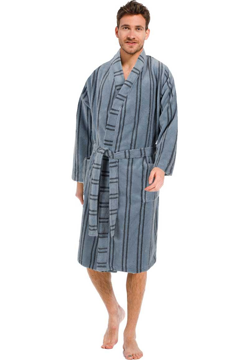 Grijze fleece heren kimono met strepen-S- 48