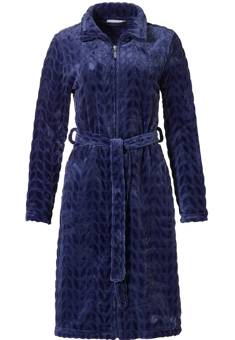 Donkerblauwe fleece damesbadjas ritssluiting -(52-54) XXL