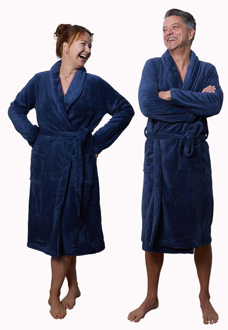 Marineblauwe badjas fleece - unisex-l/xl