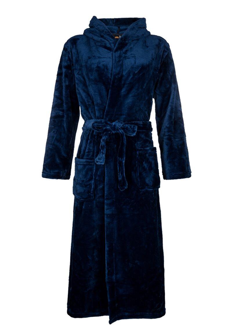 Blauwe fleece badjas met capuchon-xl/xxl
