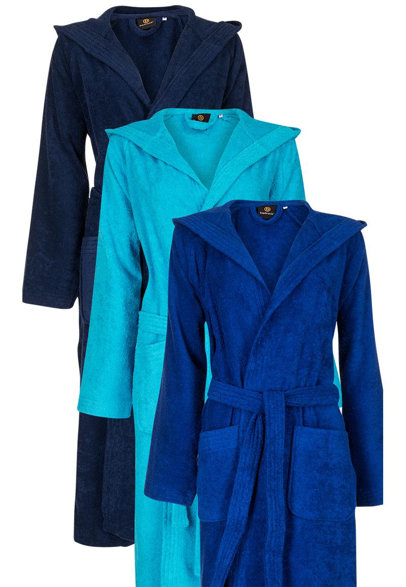 Kobaltblauwe badjas met capuchon - XS