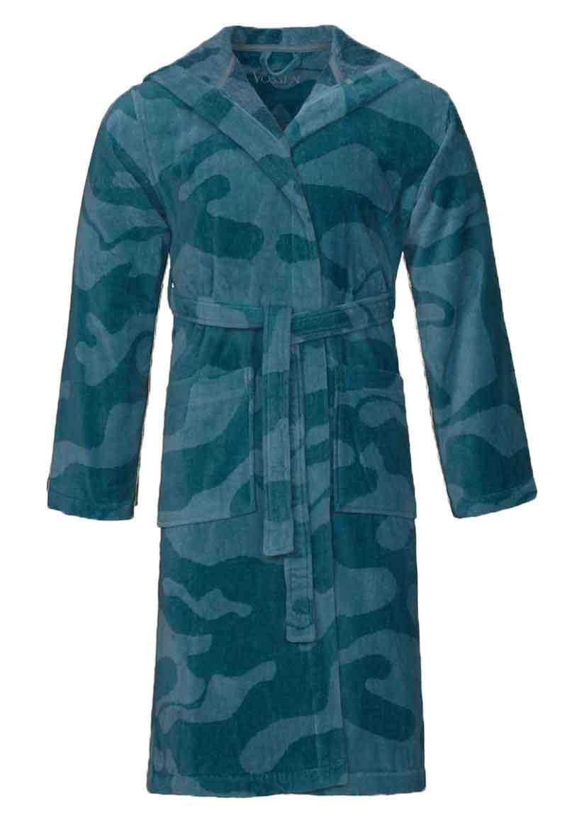 Heren badjassen camouflage-petrol-xl