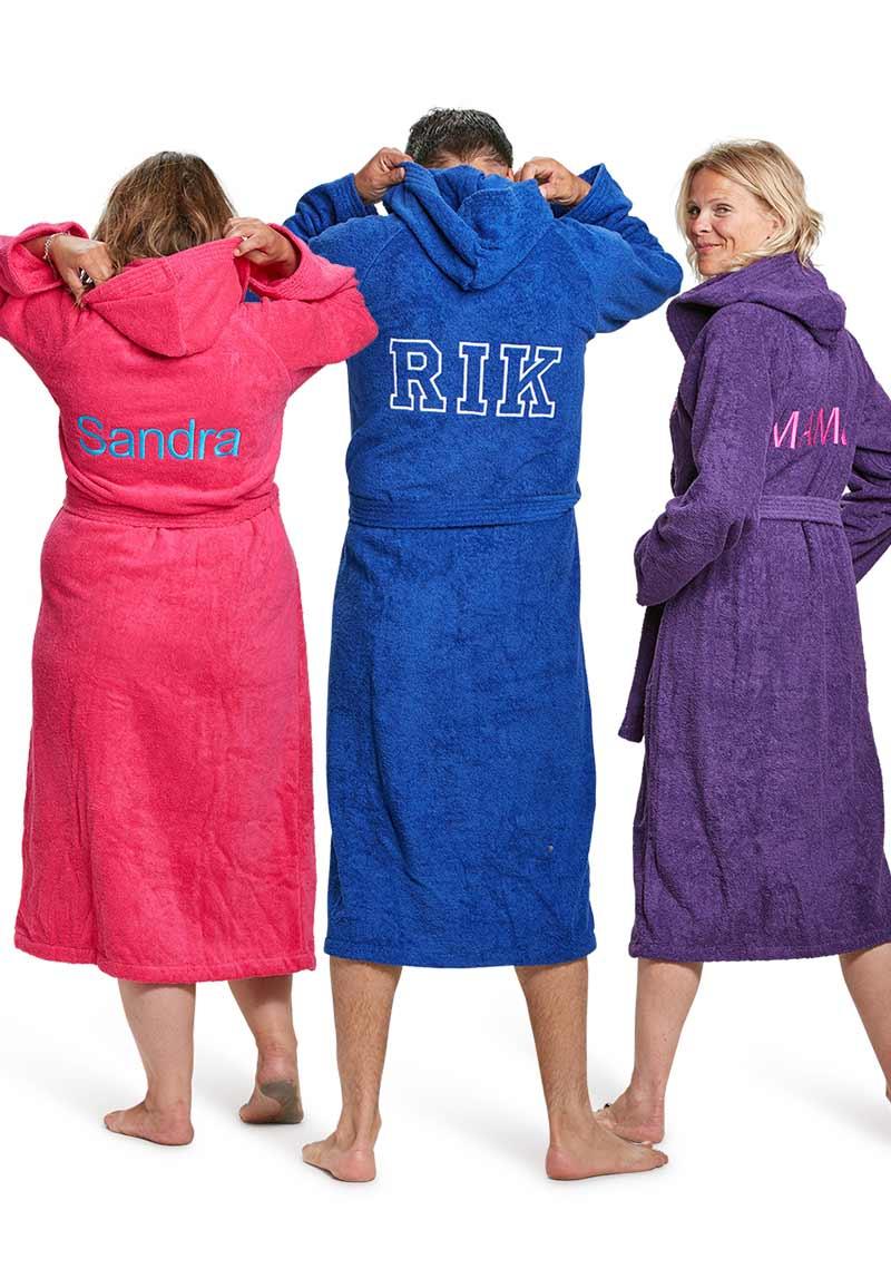 Capuchon badjas met borduring - 9 kleuren-antraciet-xxl