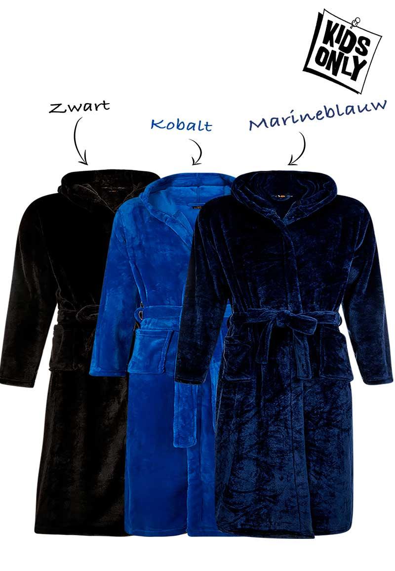 Tiener badjas met naam - fleece-kobaltblauw-XXL (14-16 jaar)