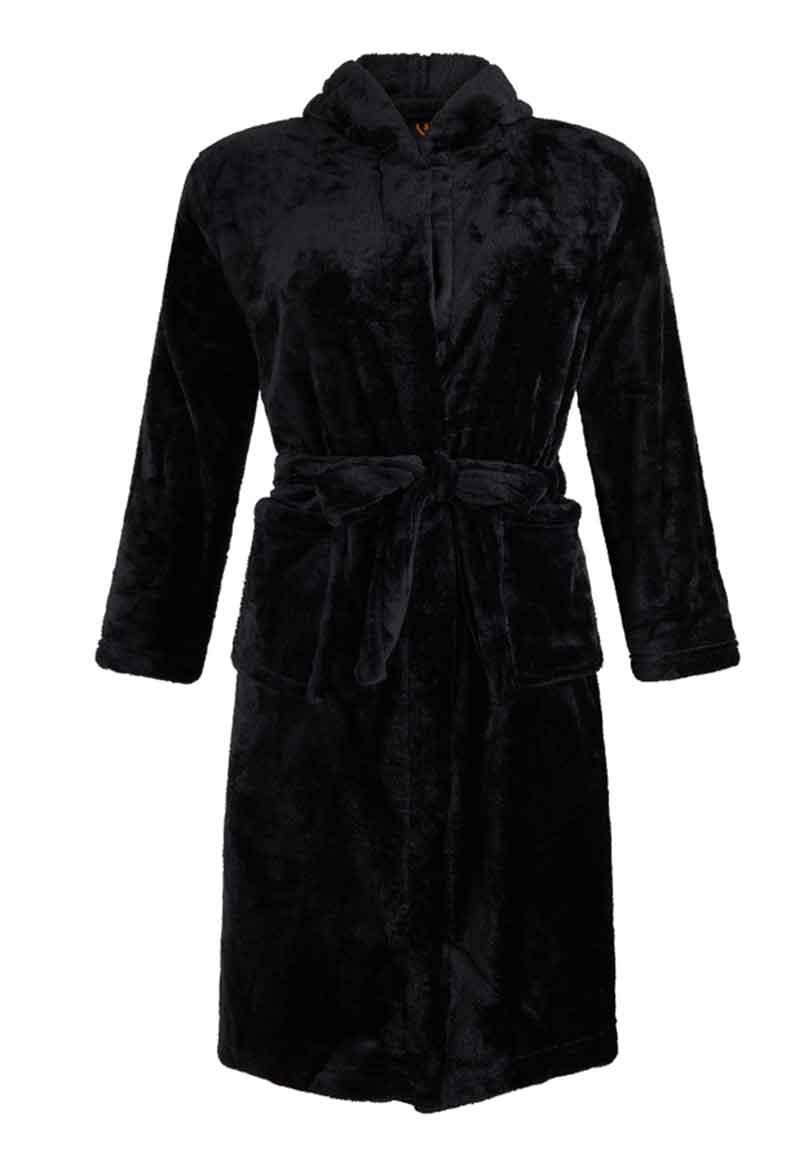 Zwarte fleece badjas tieners-XXL (14-16 jaar)