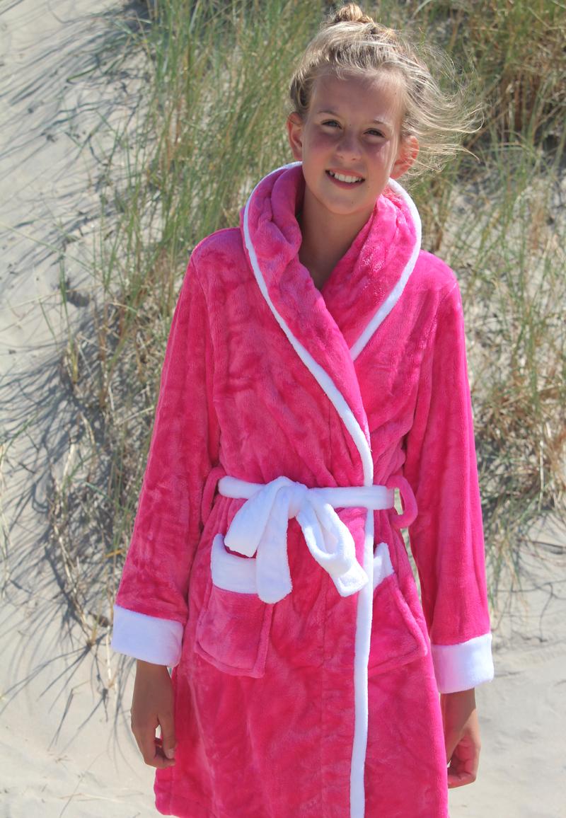 Little Pink-white badjas - Kinderbadjas met capuchon - M (7-8 jaar)