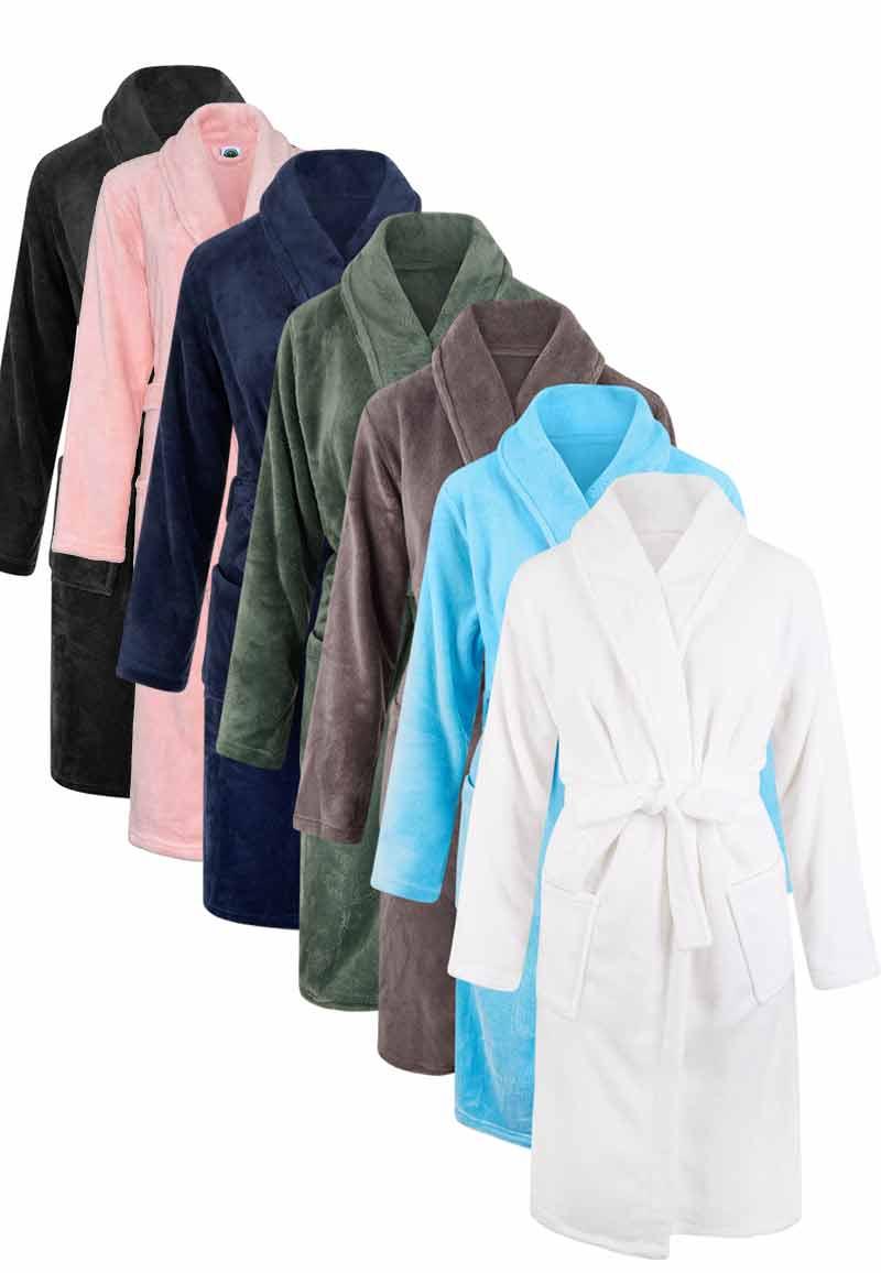 Fleecebadjas met naam borduren - unisex-xl/xxl-wit