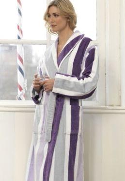 7768b9e6c20 Badjas paarse streep / luxe sauna badjas