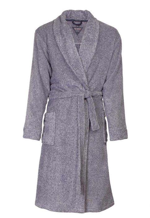 b57e3e319e6 Fleece ochtendjas heren - Grijze/blauwe badjas