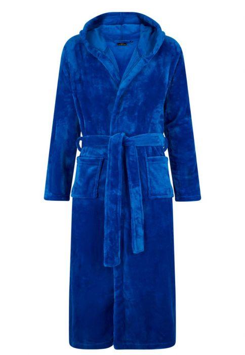 1166b58f35a Koningsblauwe fleece badjas met capuchon