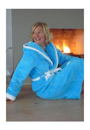 Aquablauwe badjas met capuchon