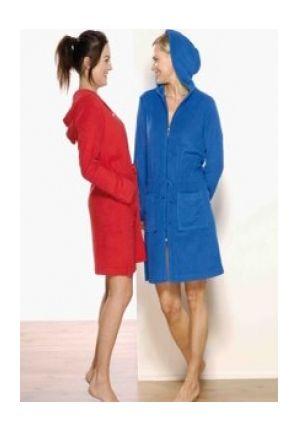 Badjas met rits in rood of blauw