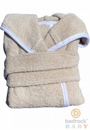 Baby badjas zand met capuchon – badstof katoen