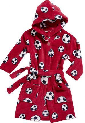 Rode kinderbadjas met voetballen