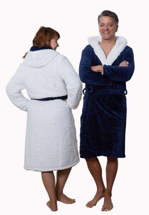 badjas met witte teddyvoering binneste buiten - 2 kanten draagbare badjas - badjas met sherpa voering