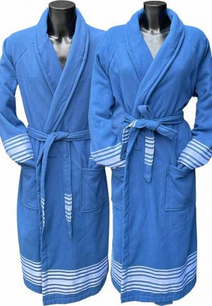 Blauwe hamam badjas katoen – saunabadjas
