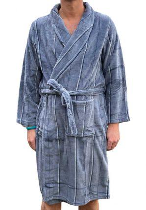 Grijze heren badjas met streepmotief - fleece
