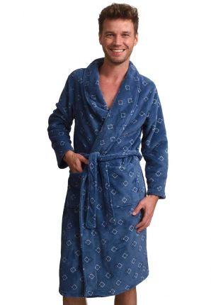 Trendy blauwe fleece heren badjas