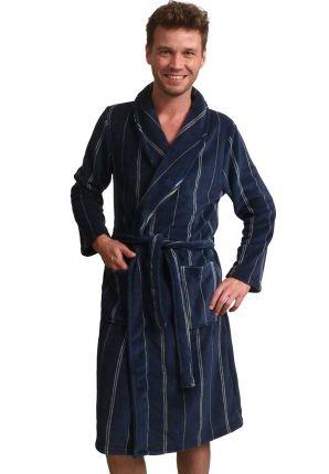 Blauwe heren badjas met streepmotief - fleece
