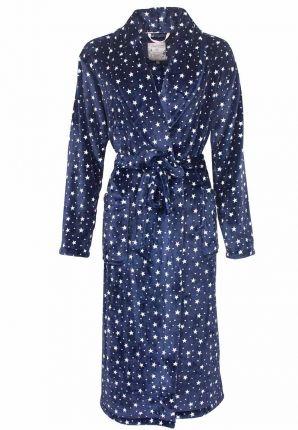 Sterren damesbadjas blauw - fleece
