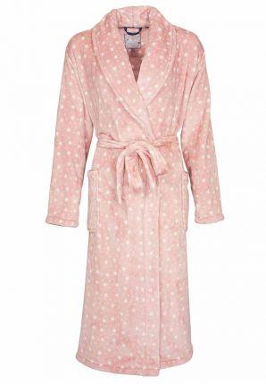 Sterren damesbadjas roze - fleece