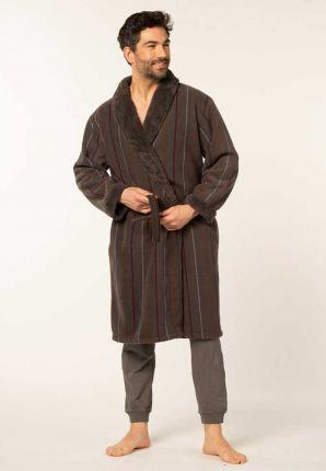 Taupe badjas heren met luxe voering