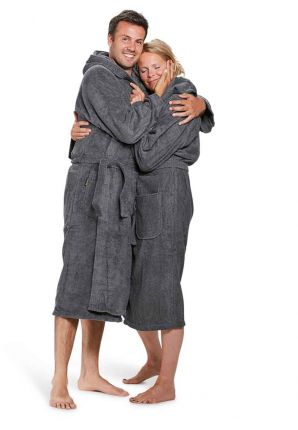 Capuchon badjas grijs badrock