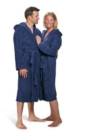 capuchon badjas marineblauw unisex