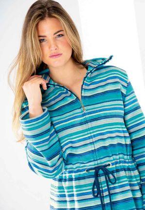 Turquoise damesbadjas met rits - Cawö