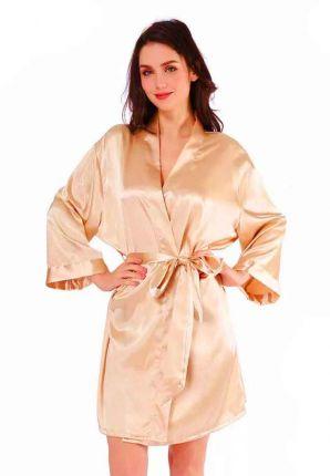 Satijnen kimono dames – champagne kleur