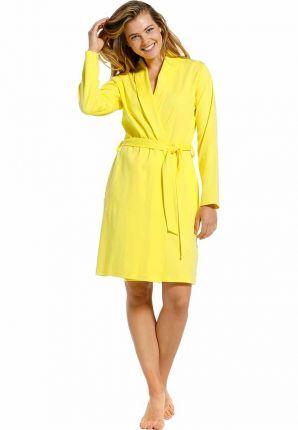 Dunne katoenen damesbadjas geel