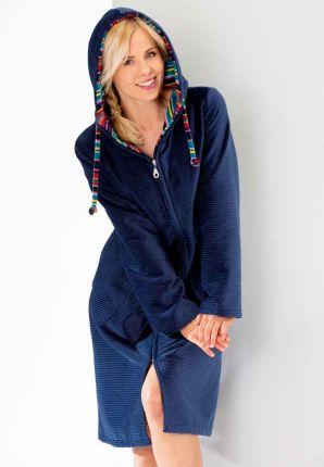 Donkerblauwe rits badjas dames - Cawö
