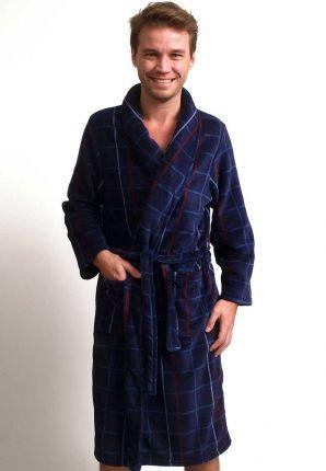 fleece badjas ruitmotief