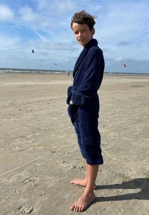 marineblauwe kinderbadjas fleece