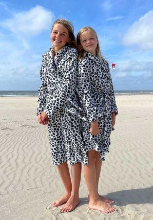Fleece kinderbadjas panter zwart wit