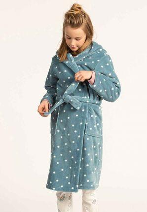 Petrol blauwe kinderbadjas met stippen