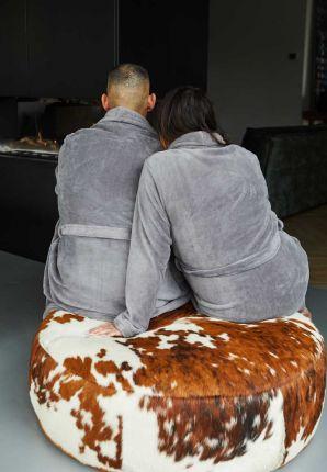 Lichtgrijze/taupe badjas fleece - unisex